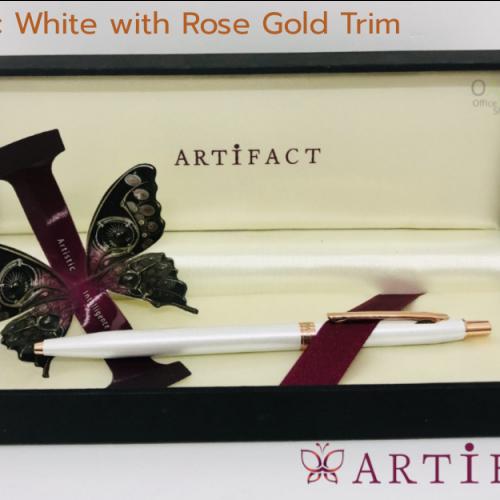 ปากกาลูกลื่น อาทิแฟ็คท์ บรัสเซล ขาวไข่มุก เหน็บโรสโกลด์ ARTIFACT Brussel White with Rose Gold Trim Ballpoint Pen #BP29072 2