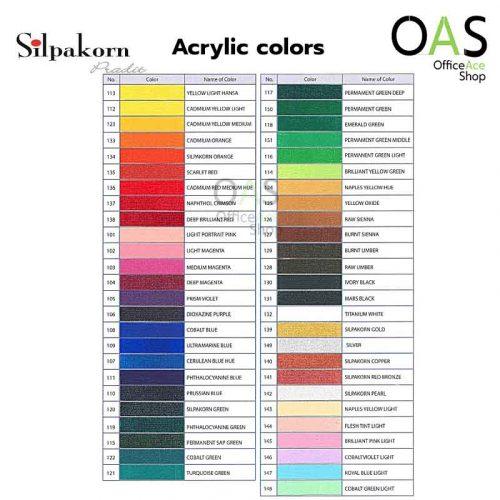 SILPAKORN PRADIT Acrylic colors chart