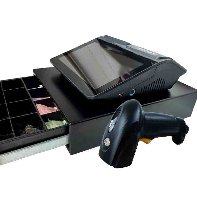 SCHLONGEN Touch screen POS Machine #SE-D1 with Cash Drawer #MK-350 and 1D Barcode Scanner #SLG-1000